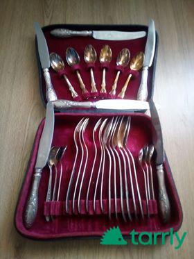 Снимка номер 1 за 6 бр. вилици, лъжици и ножове - посребрени и 6 бр. малки лъжички позлатени = 80л