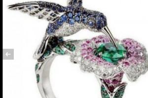 Снимка номер 1 за Прекрасен пръстен-птица: сребро, сапфир и смарагд