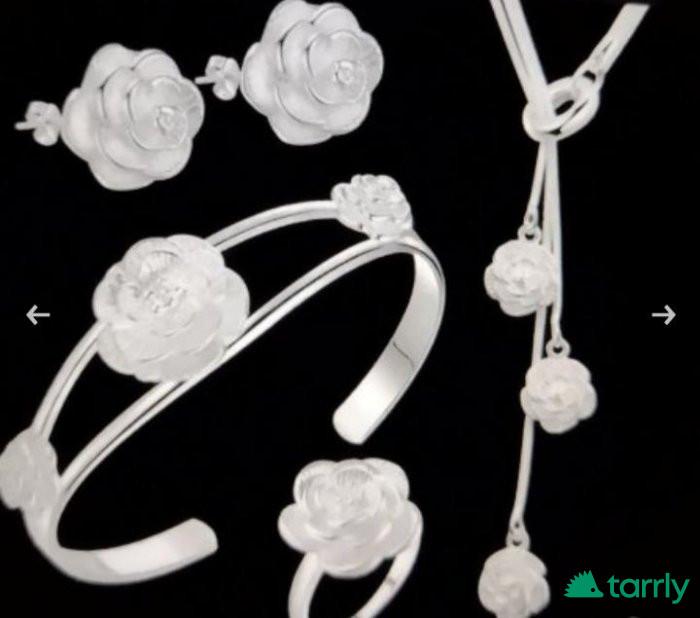 Снимка номер 1 за Сребърен комплект от 5 части, рози