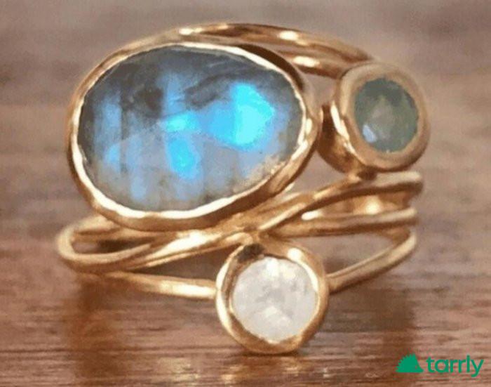 Снимка номер 1 за Дамски пръстен с лунен камък и лабрадорит