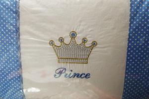 Снимка номер 1 за Луксозен бебешки спален комплект с обиколник - принц.