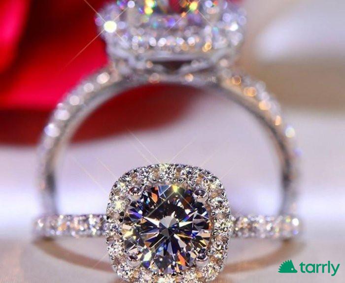 Снимка номер 1 за Дамски пръстен в платина и с мойзанити