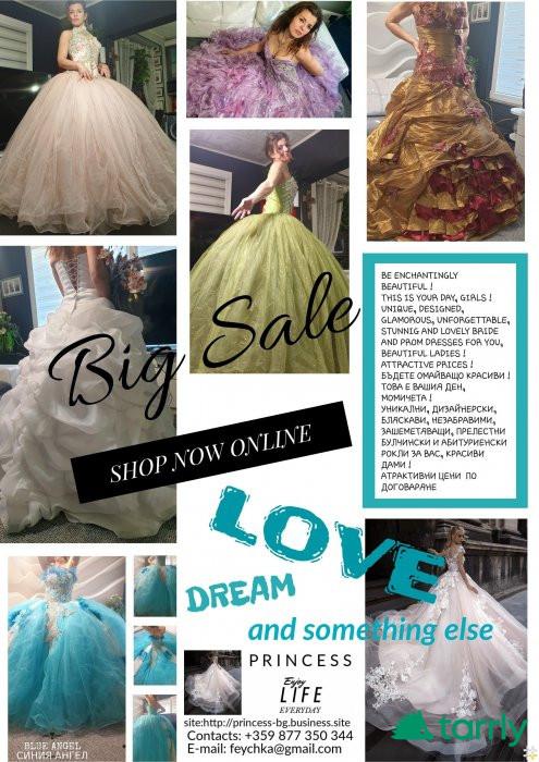 Снимка номер 1 за Булчински,сватбени рокли абитуриенски рокли официални рокли