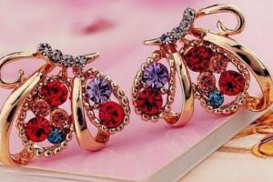 Снимка номер 1 за Модни кристални многоцветни обици