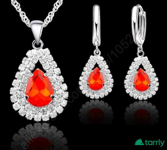 Снимка номер 1 за Сребърен комплект с огнени кристали
