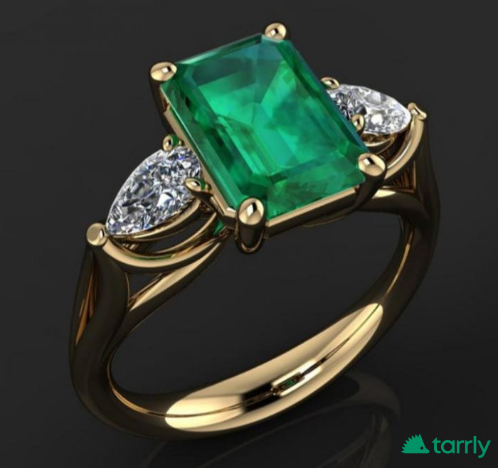 Снимка номер 1 за Луксозен златен пръстен с изумруд