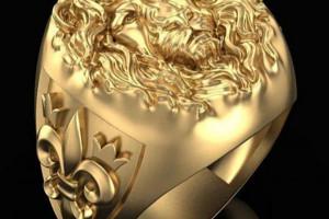 Снимка номер 1 за Мъжки пръстен злато с облика на лъв