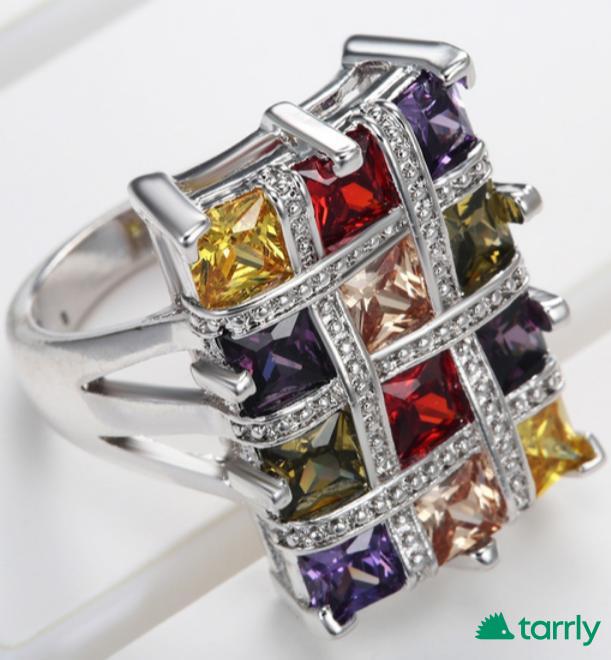 Снимка номер 1 за Сребърен пръстен със скъпоценни камъни