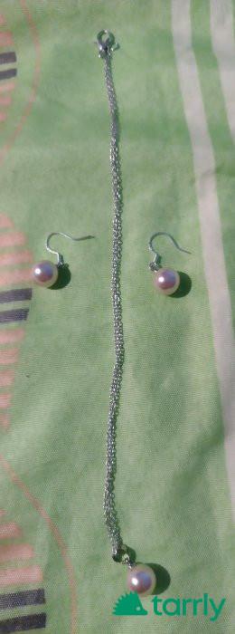 Снимка номер 1 за Комплект бежови сладководни перли