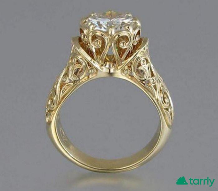 Снимка номер 1 за Луксозен златен пръстен 18 Карата