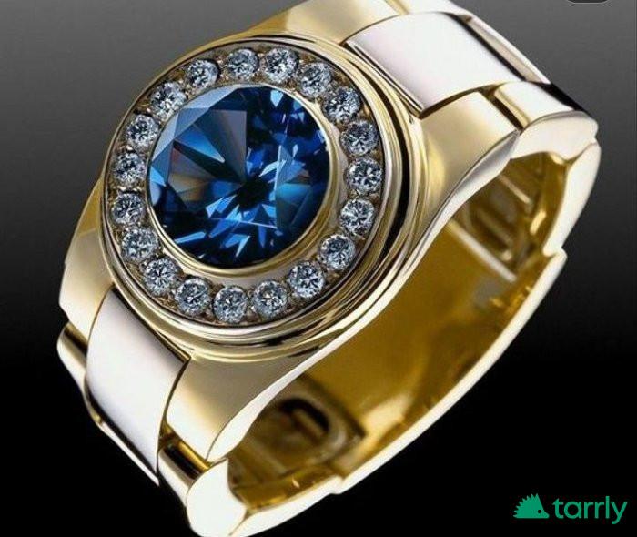 Снимка номер 1 за Пръстен унисекс златно покритие, сапфир и диаманти, нов