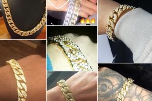 """Снимка номер 1 за Мъжка гривна с диаманти в стил """"Хип-хоп"""", нова"""